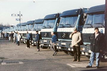 Unsere LKW-Flotte mit Fahrern in 1960